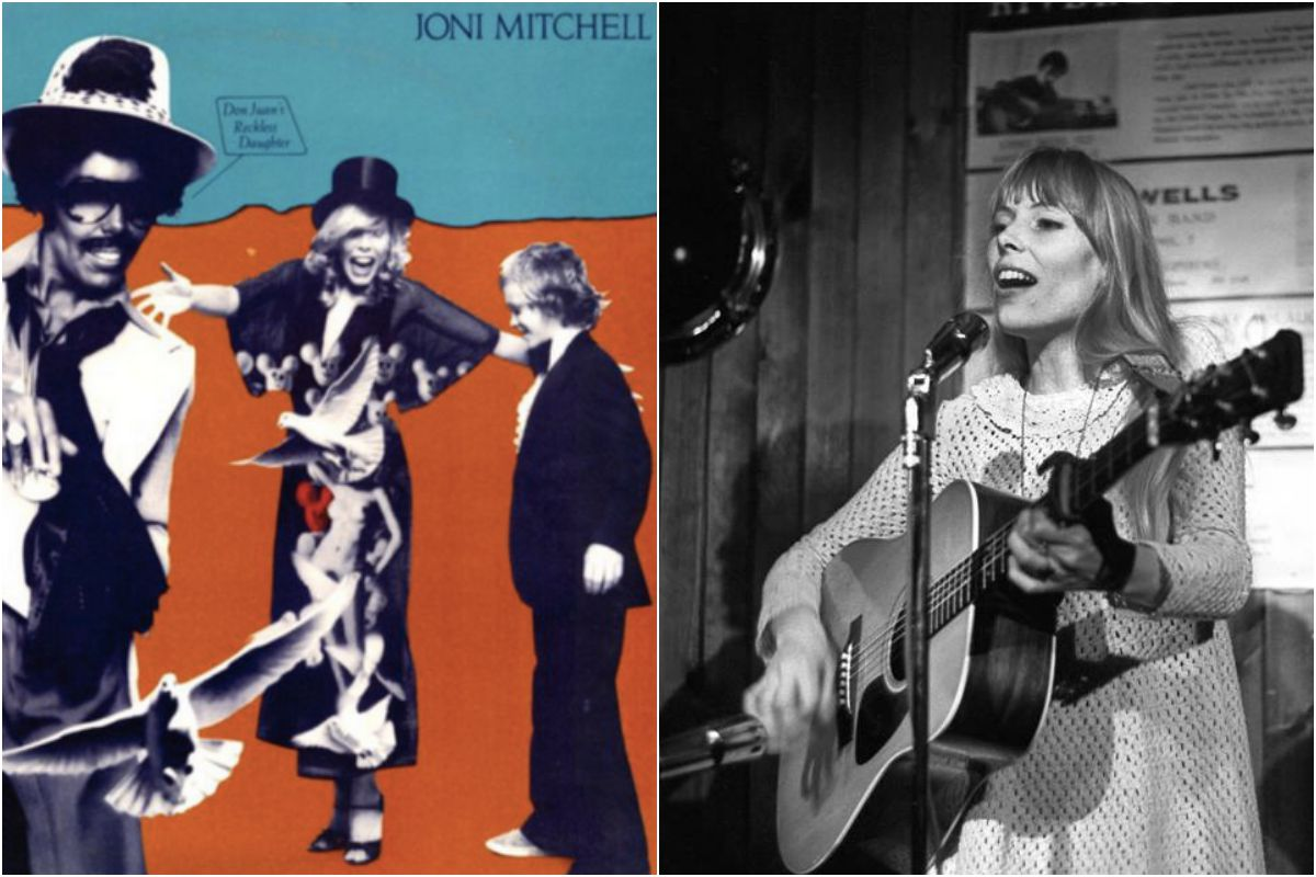 La portada del disco y Joni Mitchell en 'The Riberboat Coffee House' (en abril de 1968). Fotos: Facebook.