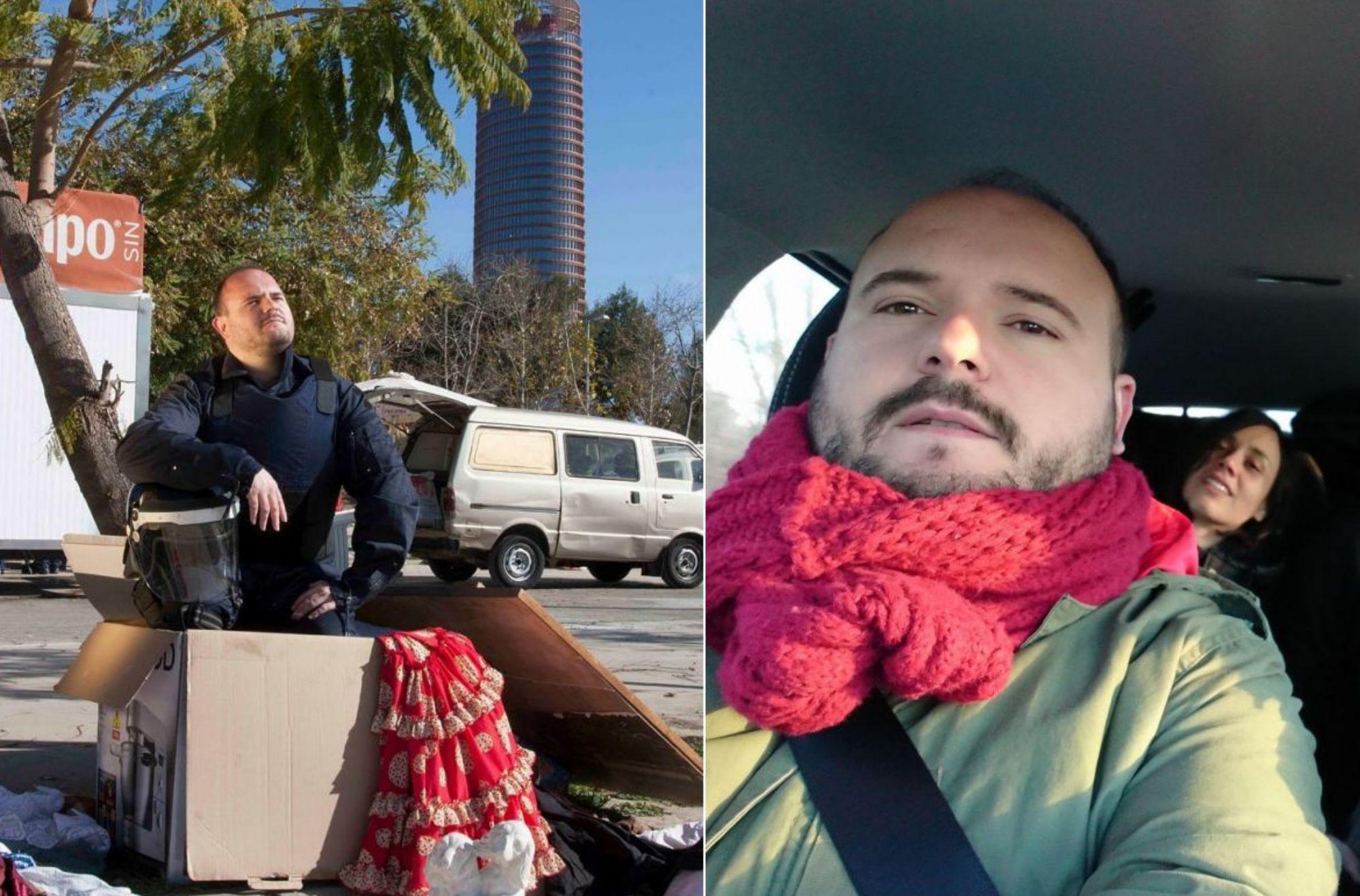 En Sevilla, frente a la Torre Pelli y de gira en el coche. Fotos: Celia Macías e Instagram.