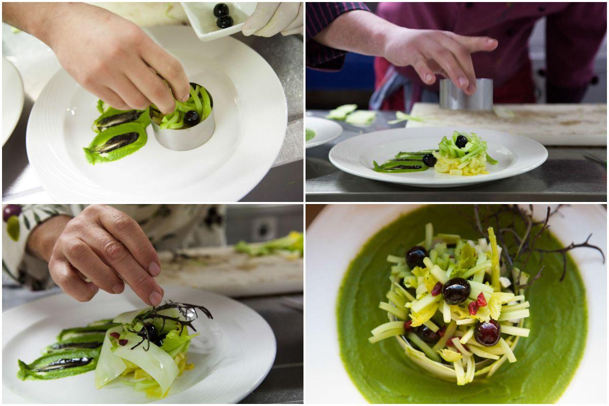 Ensalada de apio con pomada de su troncho y otras verduras de hielo del restaurante Trinkete.