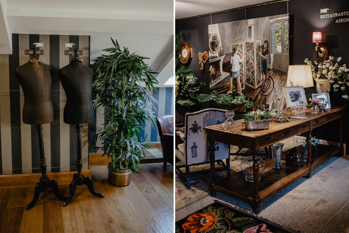 Detalles familiares en el hotel: los maniquíes y la mesa del taller de costura del abuelo, que era sastre en Madrid.