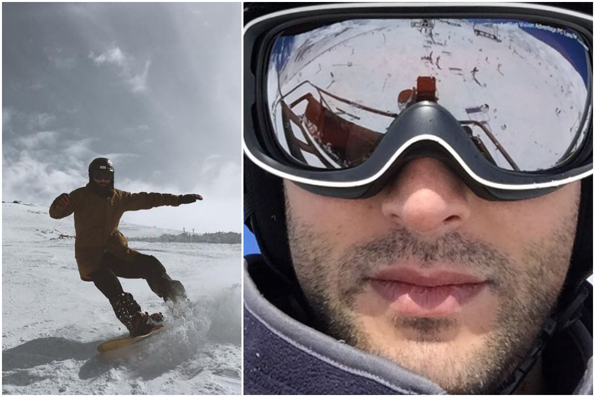 El actor Javier Rey esquiando en Sierra Nevada.