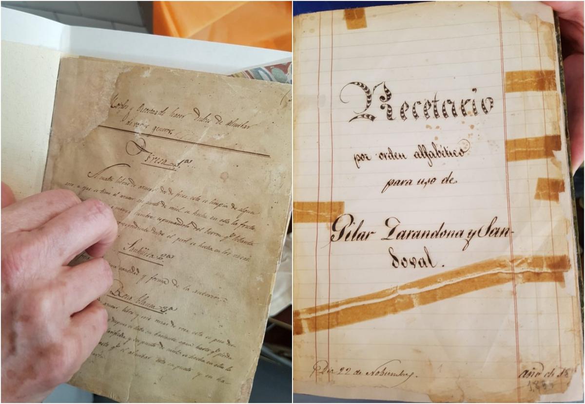 A la izquierda, el recetario de Belén Sandoval, de 1870. A la derecha, el de Pilar Zarandona, de 1895. Foto: Belén Laguía.