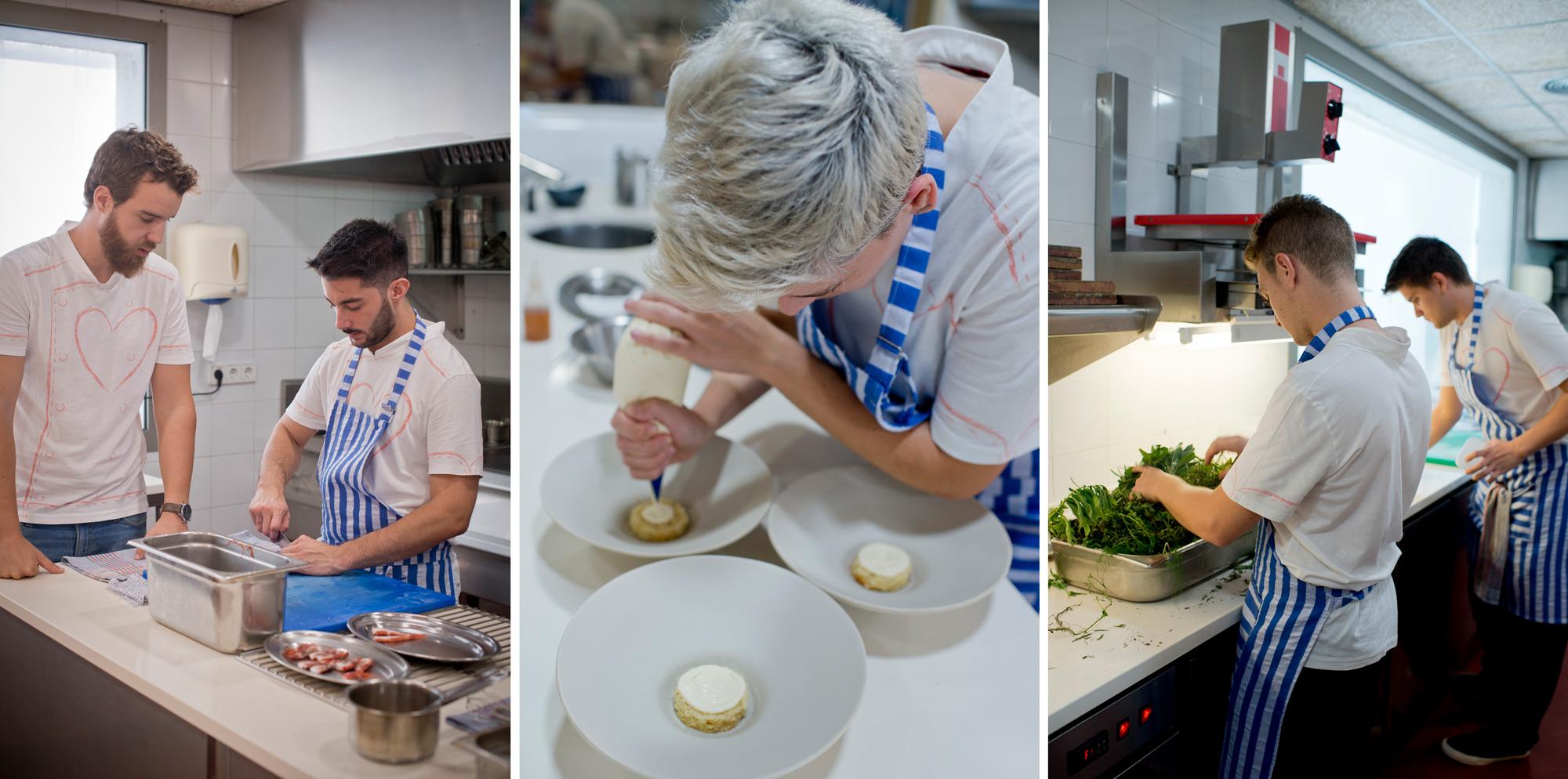 Un equipo joven, entusiasta y con ideas se afana en la cocina.