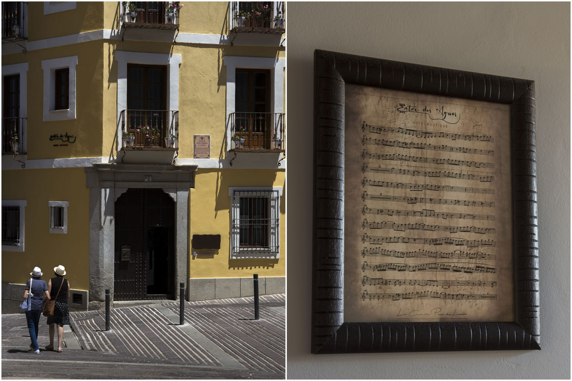 Fachada del hotel y partitura del clásico 'Entre dos Aguas'.