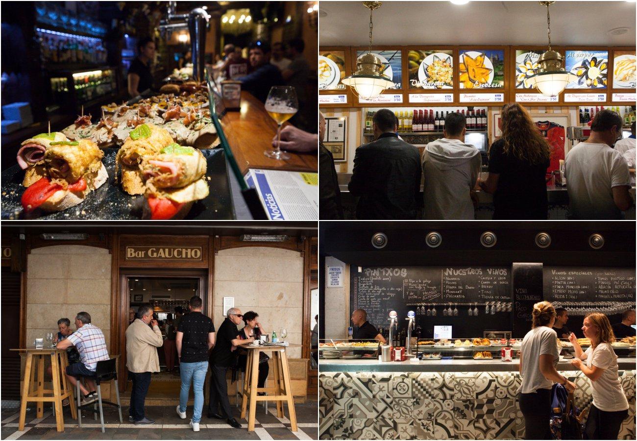 Pamplona - bares para el tapeo: 'La Estafeta', 'La Mejillonera', 'Gaucho' y 'Guria'.