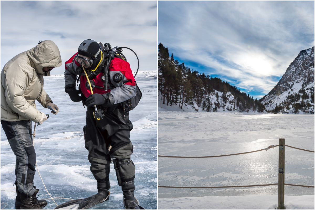 Un traje especial para bucear en el lago helado de Panticosa, en el Valle de Tena. Fotos: Shutterstock.
