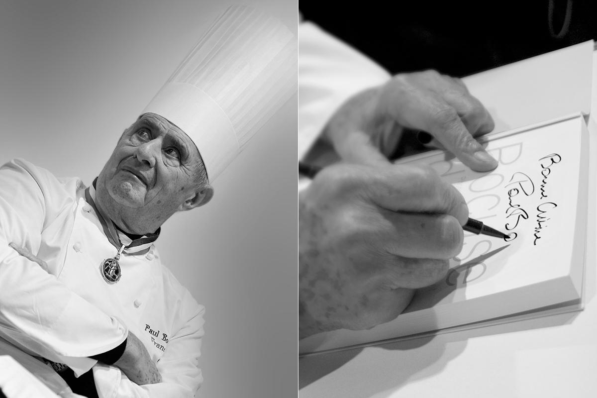Retrato de Bocuse y el chef firmando. Fotos: Shutterstock.