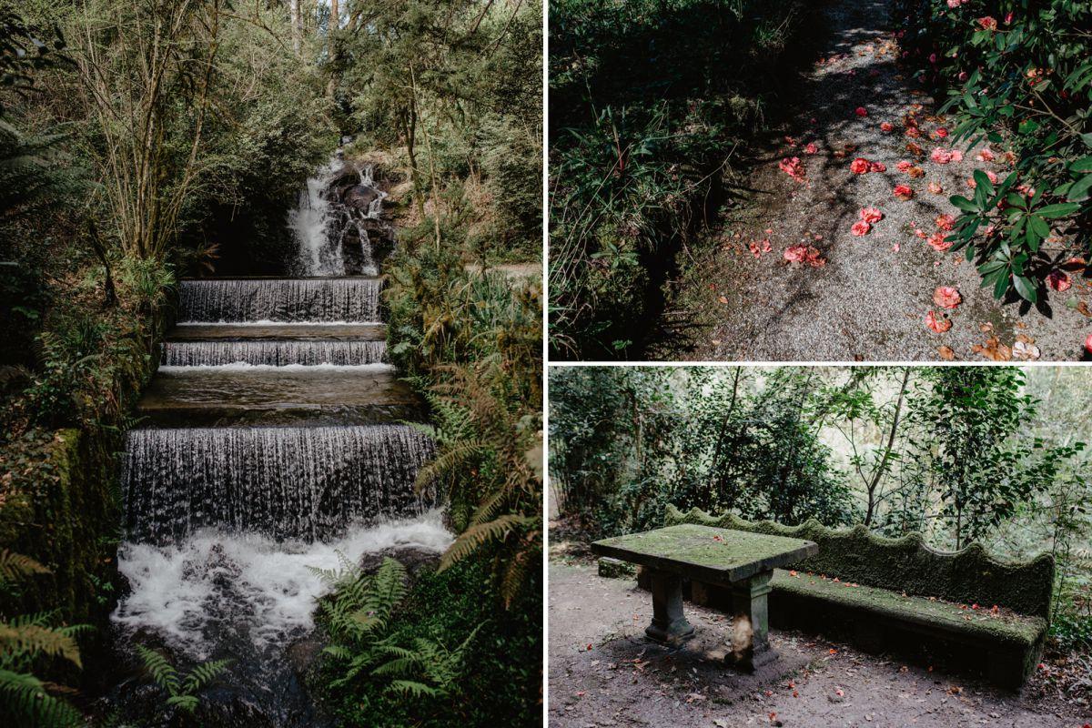 La cascada y el banco y mesa de Jovellanes.