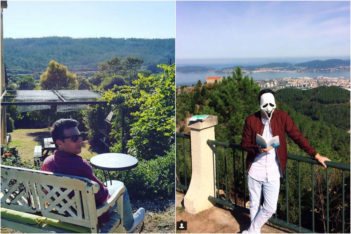De relax en Aguapesada, Ames (La Coruña). A la derecha, en Vigo con una careta. Foto: Instagram.