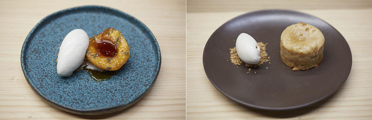 Vaya dos postres: Melocotón y vainilla y Coulant de almendra marcona tostada con helado de canela y limón.