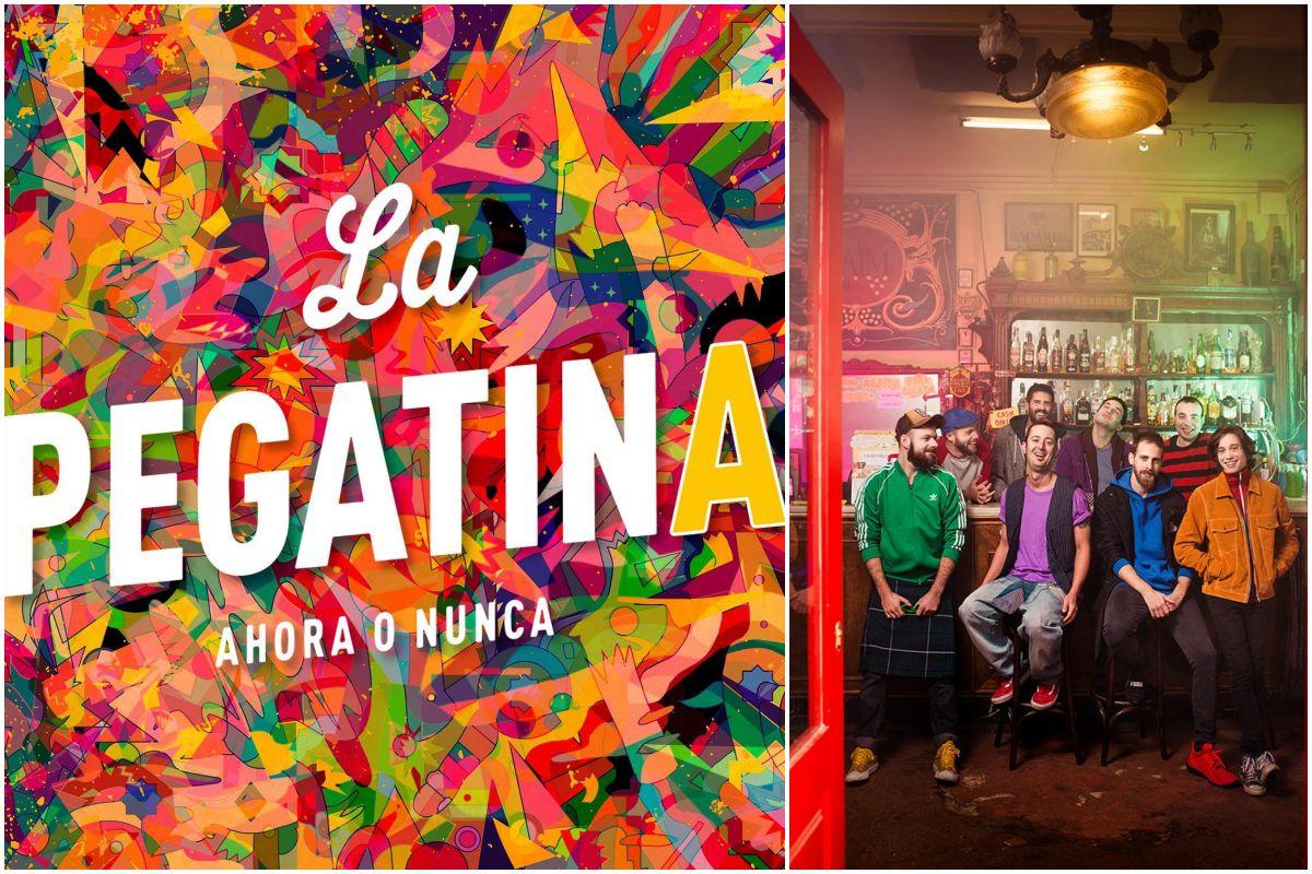 Portada del disco Ahora o Nunca de La Pegatina, y una foto del bar del grupo, en Madrid. Fotos: Facebook.
