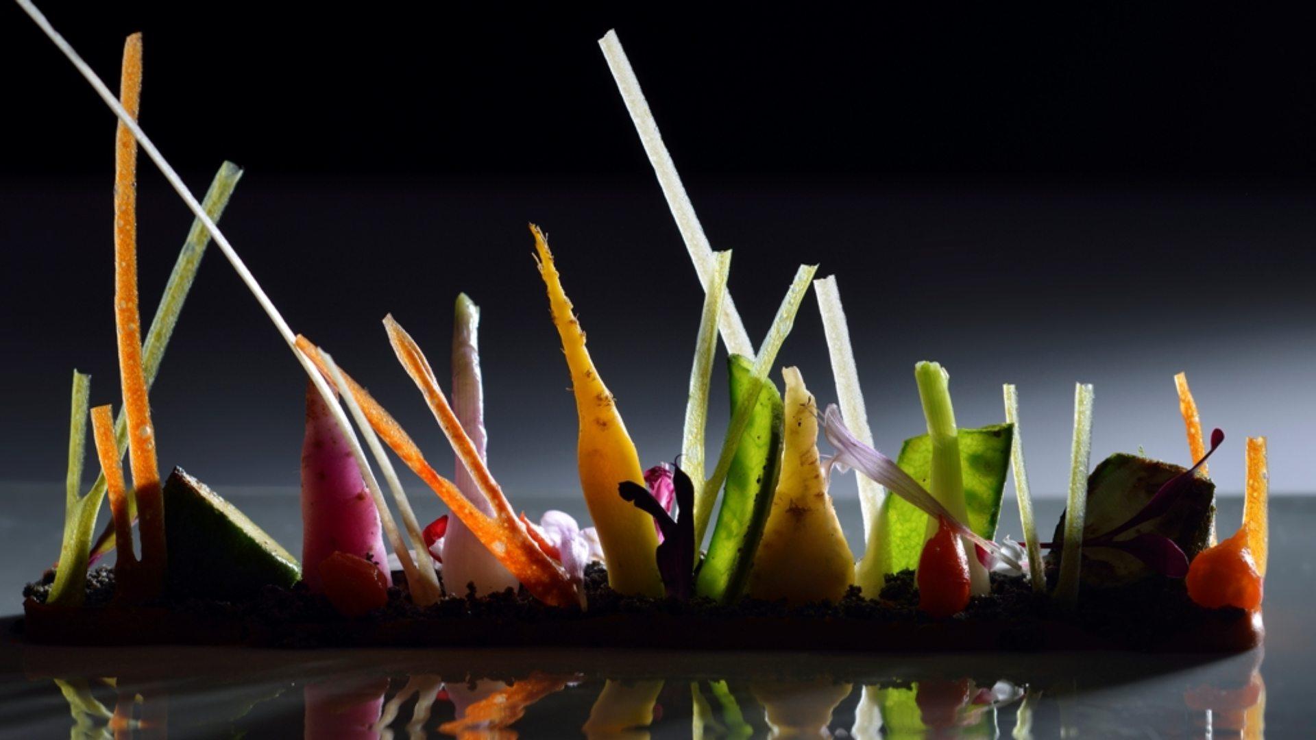 Plato estrella: Verduras en su medio, arroz y pichón
