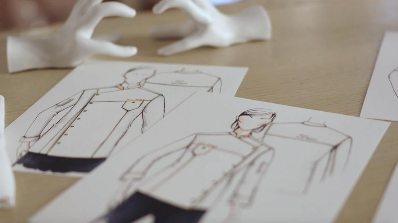Boceto de los diseños de las chaquetillas, tanto para hombre como para mujer.