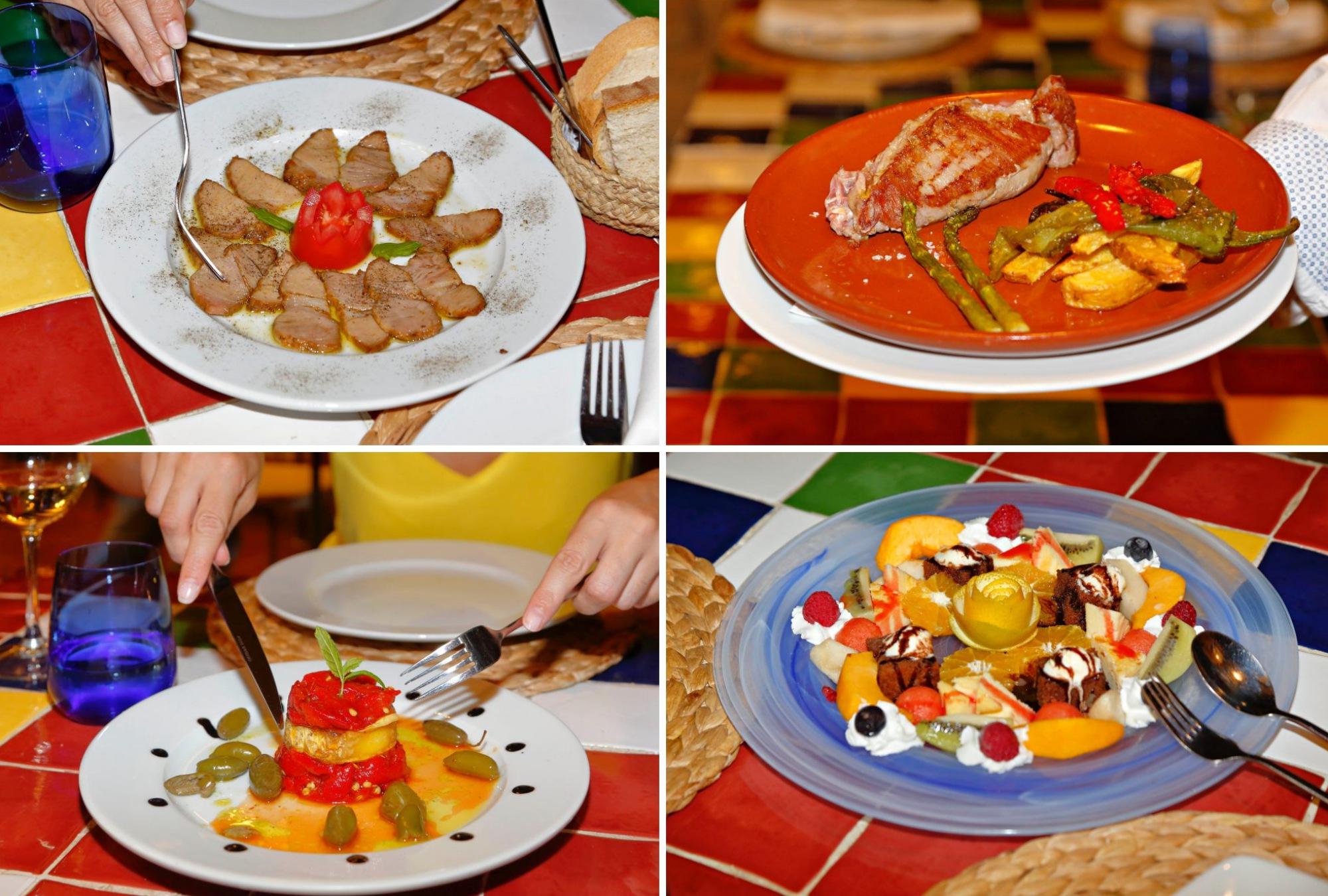 Lomo de orza, solomillo con verduras, timbal de pimientos rojos con queso de cabra y el postre: 'brownie' con tarta de queso y fruta de temporada.