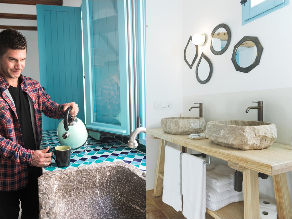 La piedra de cantera resalta en baños y cocina.
