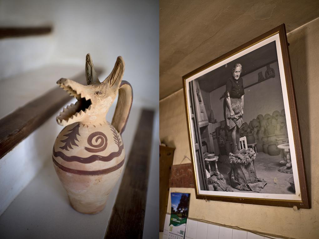 Jarra con cabeza de lobo realizada por Evelio López, reproducción de una pieza de las antigüas de la zona.
