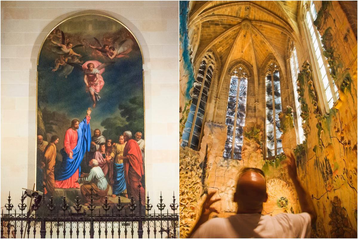 Uno de los retablos de la catedral. A la derecha, la capilla decorada por Miquel Barceló.