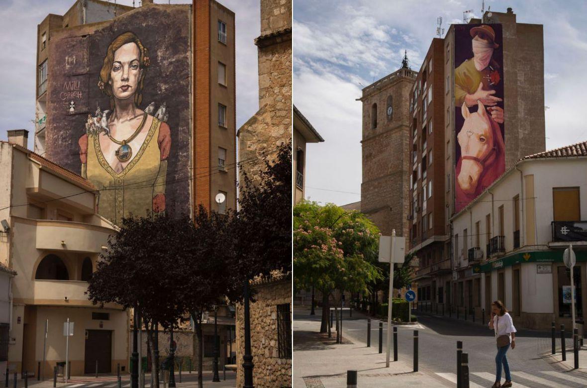En Quintanar de La Orden, murales de 'El Quijote' y de Dulcinea del Toboso.