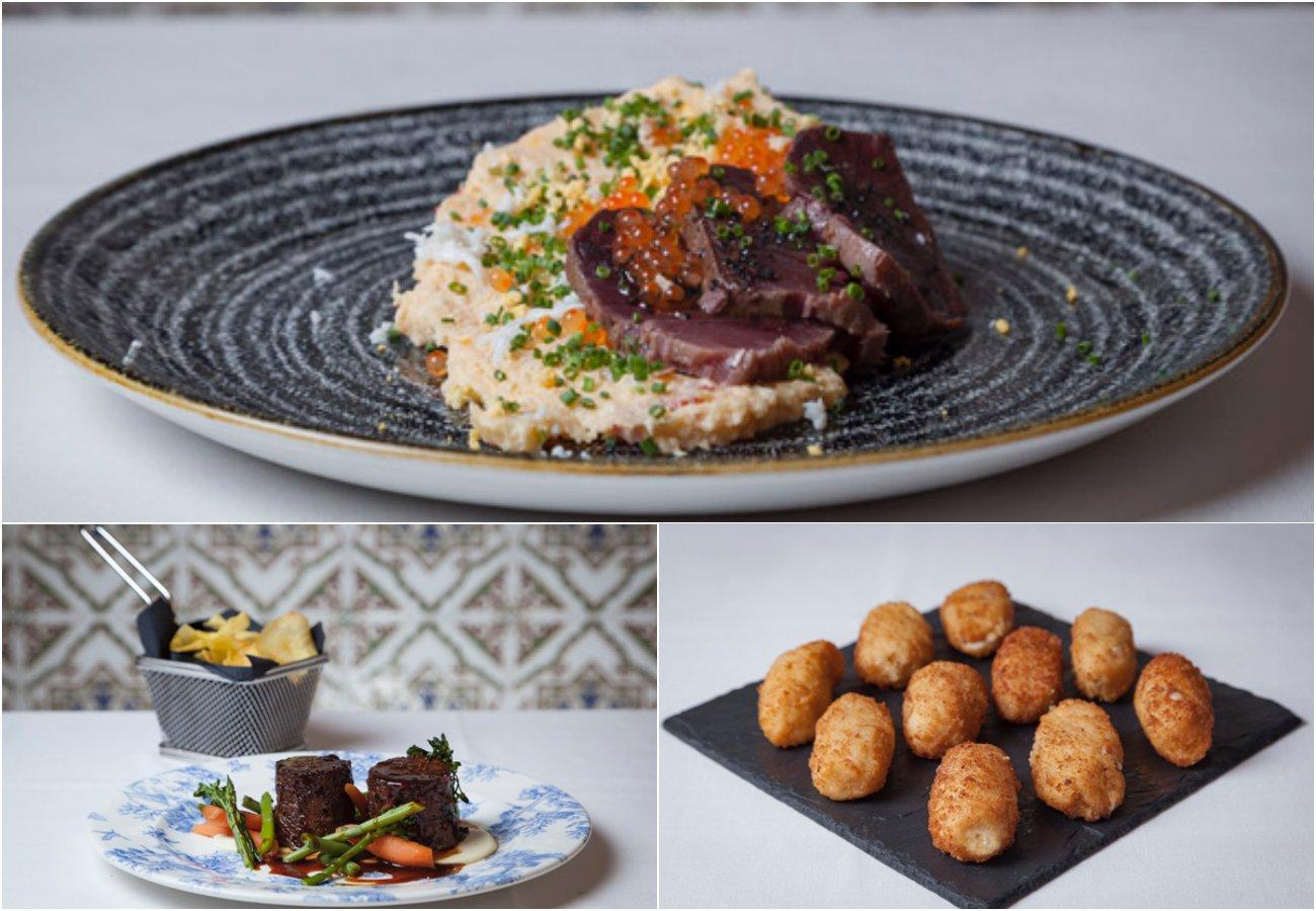 El Zorzal - platos: ensaladilla rusa con bonito elaborado en la casa; rabo de toro deshuesado y glaseado, chirivía y verduras; y croquetas de jamón.