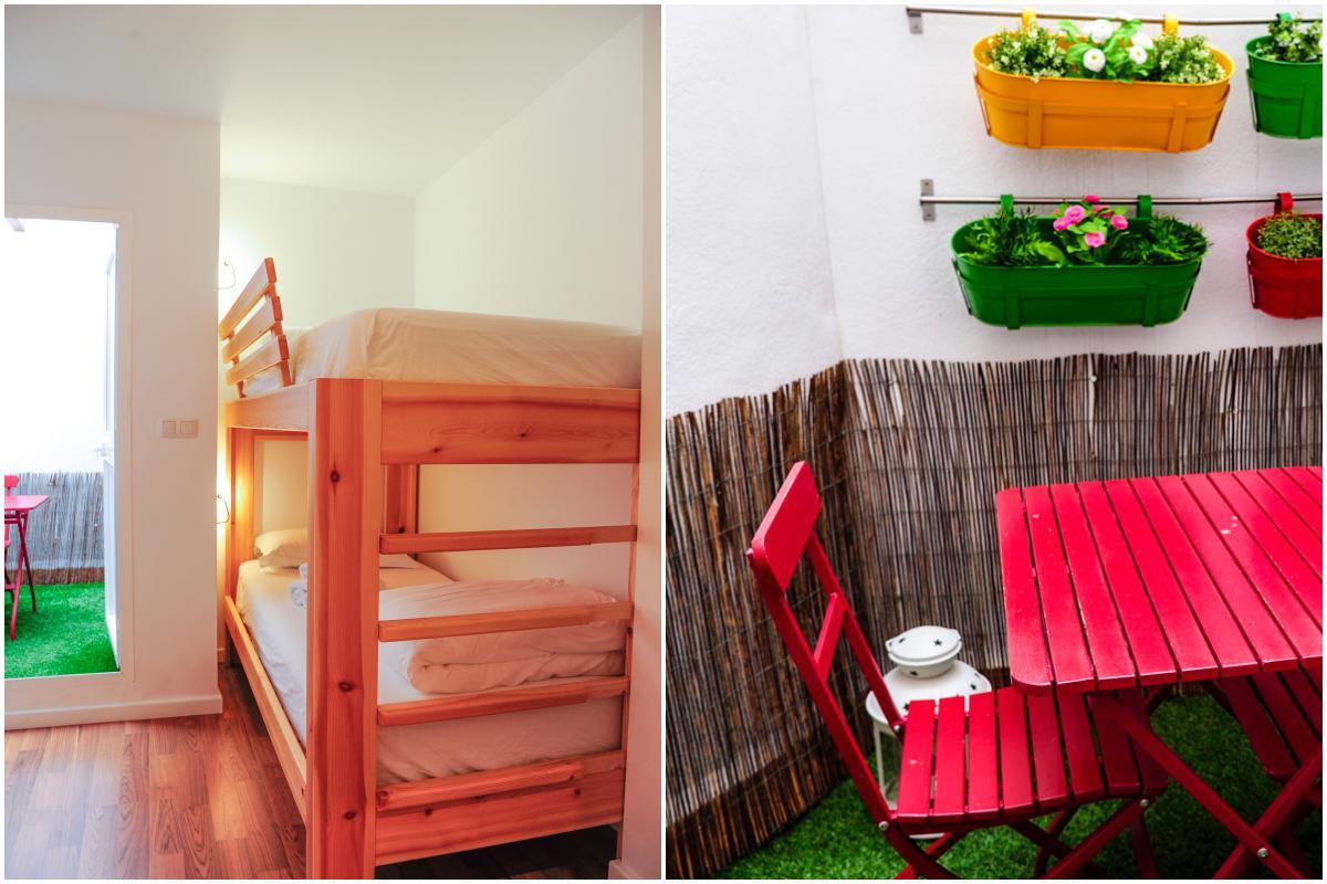 Para los niños, unas resistentes literas. En la terraza, un colorido espacio 'chill out'.