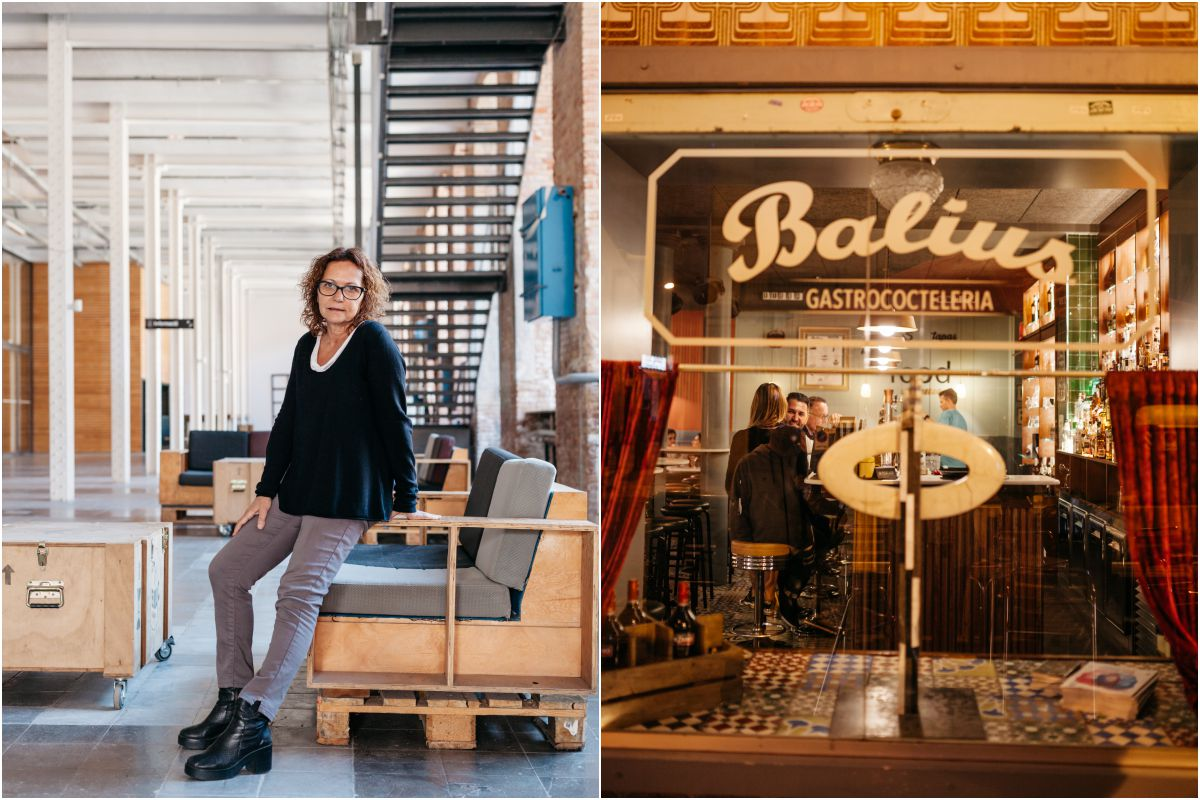 Berta Sureda, directora de 'Fabra i Coats'. La fachada del restaurante 'Balius'.