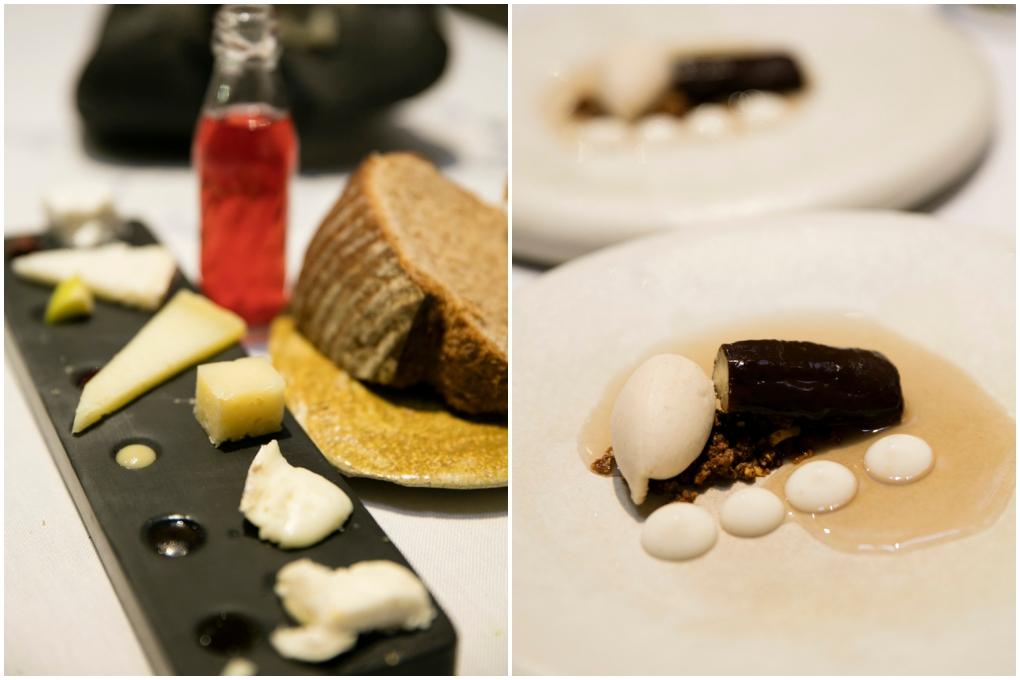 Degustación de quesos de la sierra con sus compotas artesanas; y la berenjena glaseada al horno con almíbar de algarroba.
