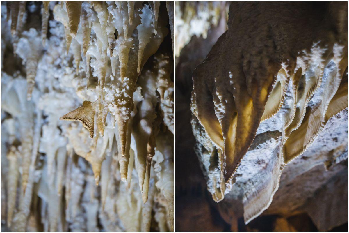Diferentes formaciones kársticas en la Cueva Masero, de las Cuevas Fuentes de León, en la provincia de Badajoz.