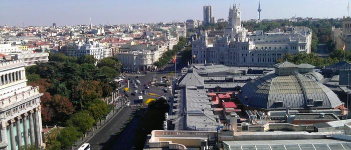 Vistas desde la azotea del Círculo de Bellas Artes de Madrid.