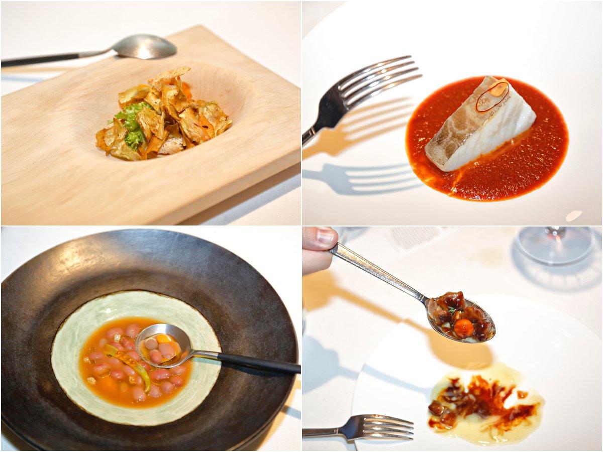 Restaurante 'El Portal de Echaurren'. Platos del menú 'Tierra': Parfait de higaditos de pollo, lomo de bacalao, alubias rojas y morros glaseados