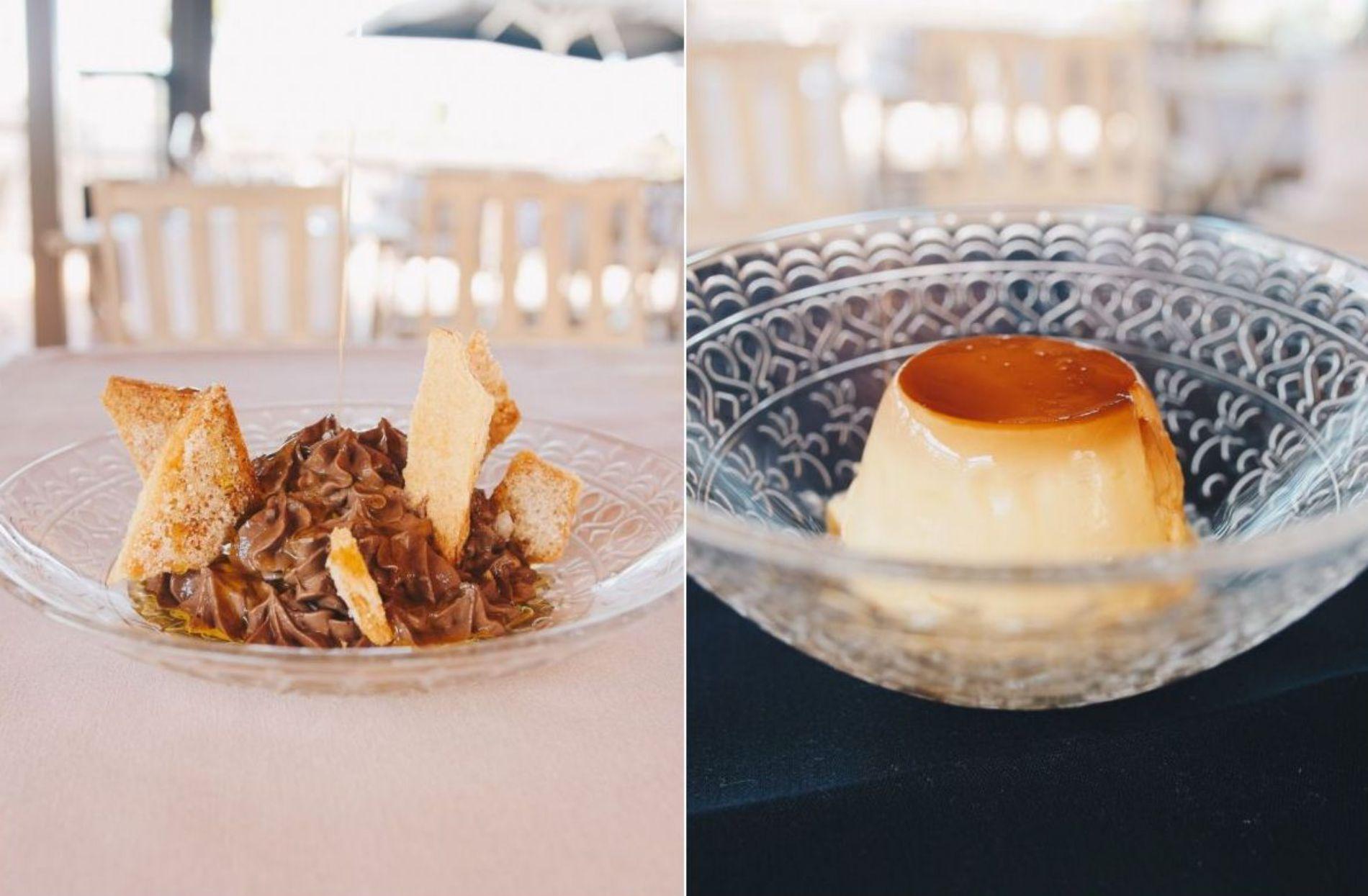 Un postre de chocolate y el flan casero ponen el inigualable punto dulce. Foto: Pan de Cuco.