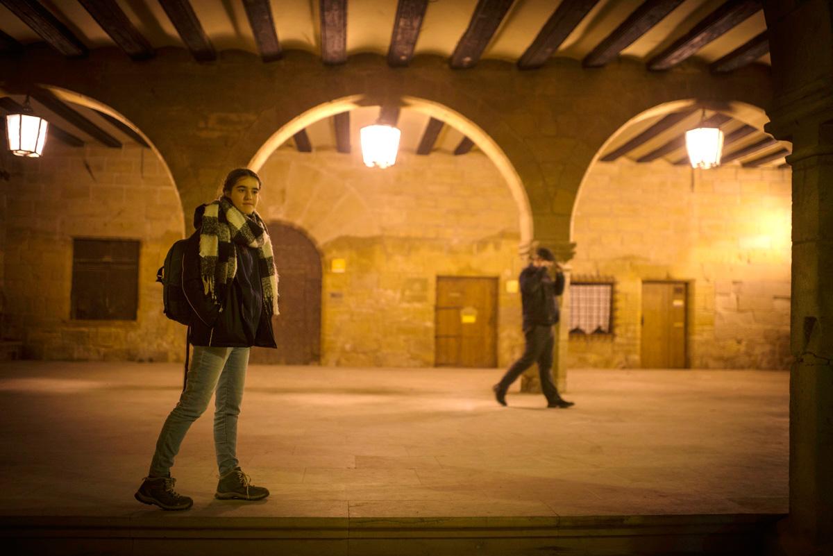 Soportales de la plaza mayor de La Fresneda.