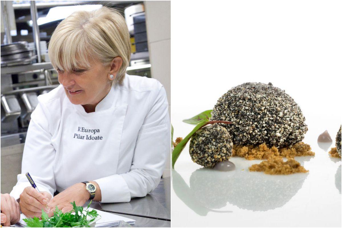 Pilar Idoate y plato de Huevo en costra de arroz venere sobre tierra de trufa y bombón. Fotos: Restaurante Europa.
