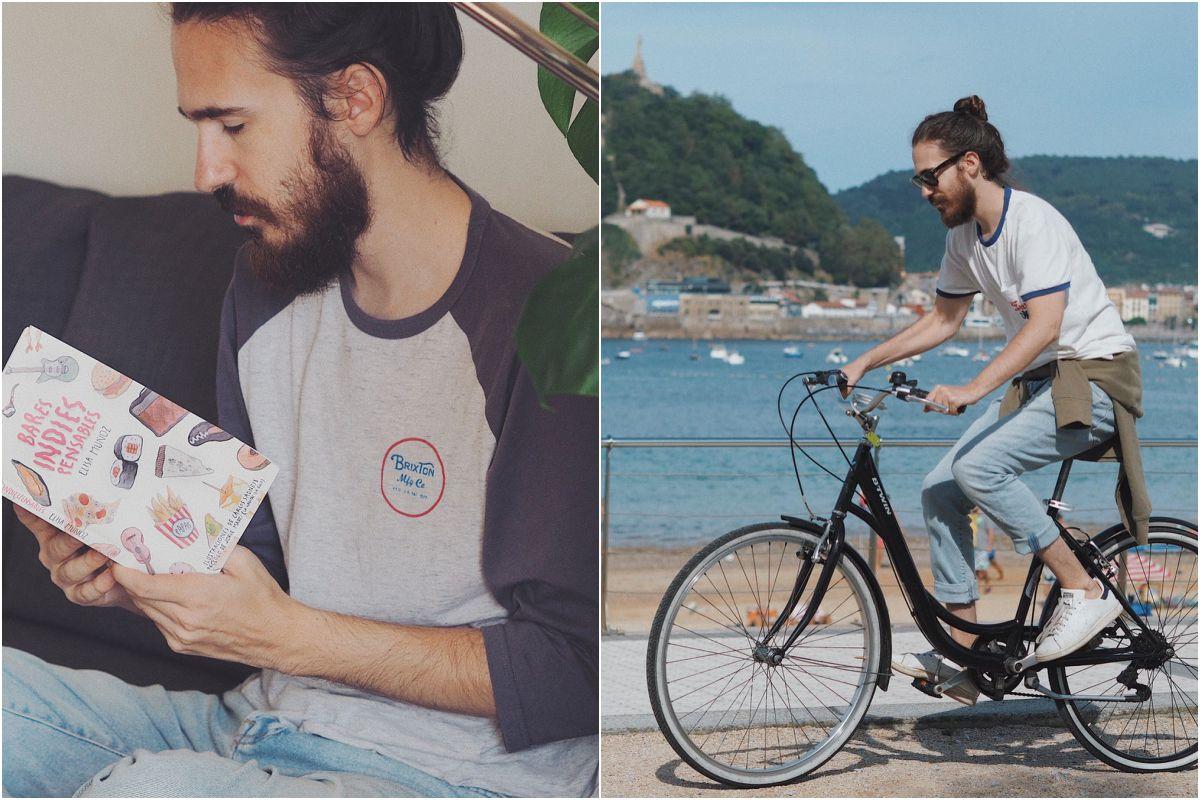 El compositor e ilustrador con el libro 'Bares Indiespensables' entre manos y paseando en bici por Donosti.