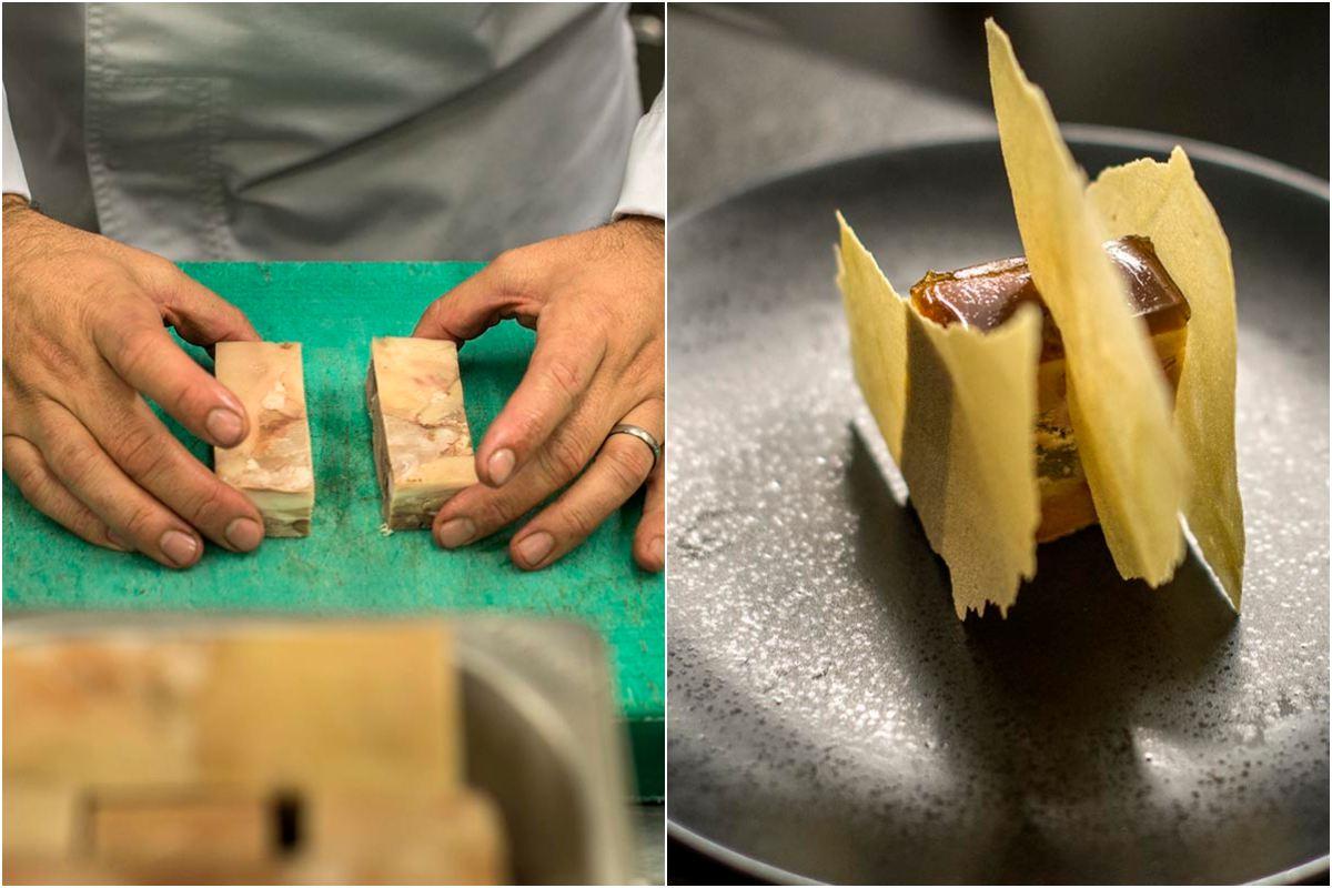 El foie lleva dentro manzana. Para adornar, la misma fruta pero en una textura crujiente.