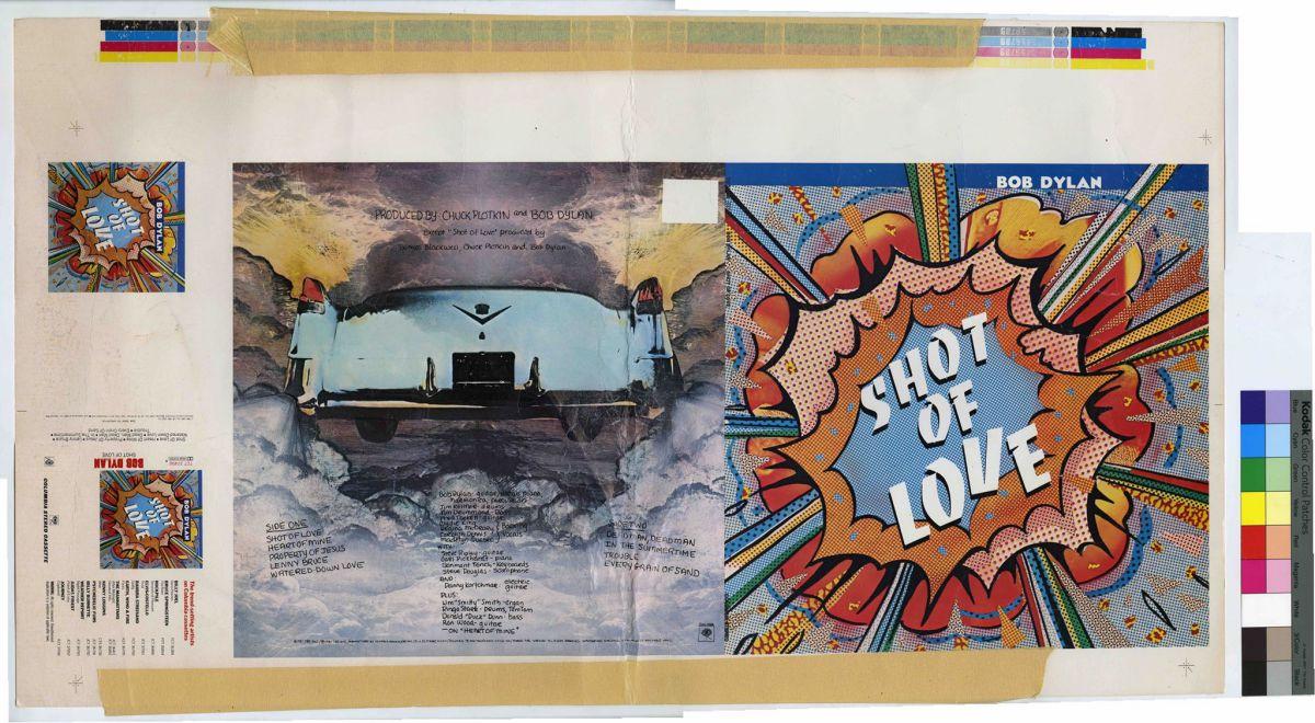 La prueba de diseño del álbum (en cassette) 'Shot of Love' de Bob Dylan. Foto: Facebook
