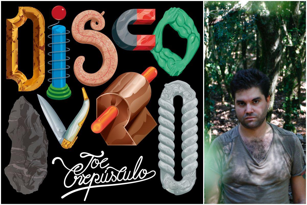 Portada del último disco de Joe Crepúsculo y una foto del artista. Fotos: El Volcán de Música / Marta Juan.