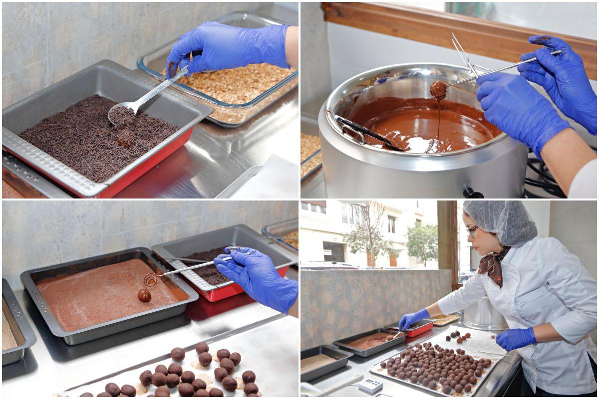Preparando los bombones en Flor D'KKO (Madrid).