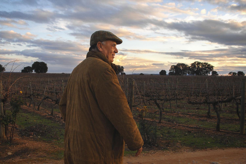 Carlos Falcó, junto a los viñedos.