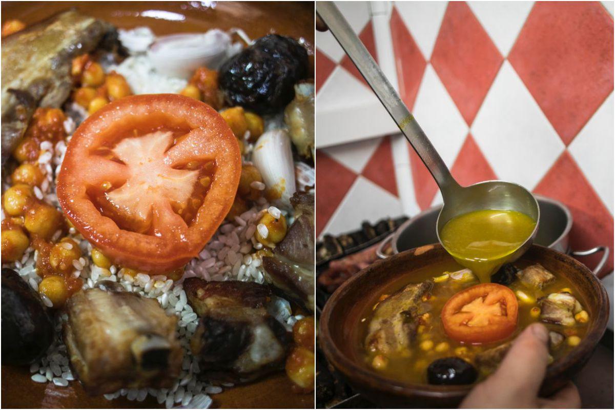 Los ingredientes de un buen cocido (y el caldo) se echan sobre el arroz y al horno.