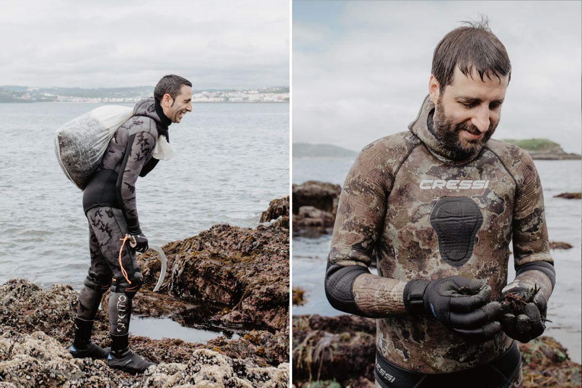 Las dos patas de Mar de Ardora, en pleno curro, recolectando algas del mar, en Galicia.