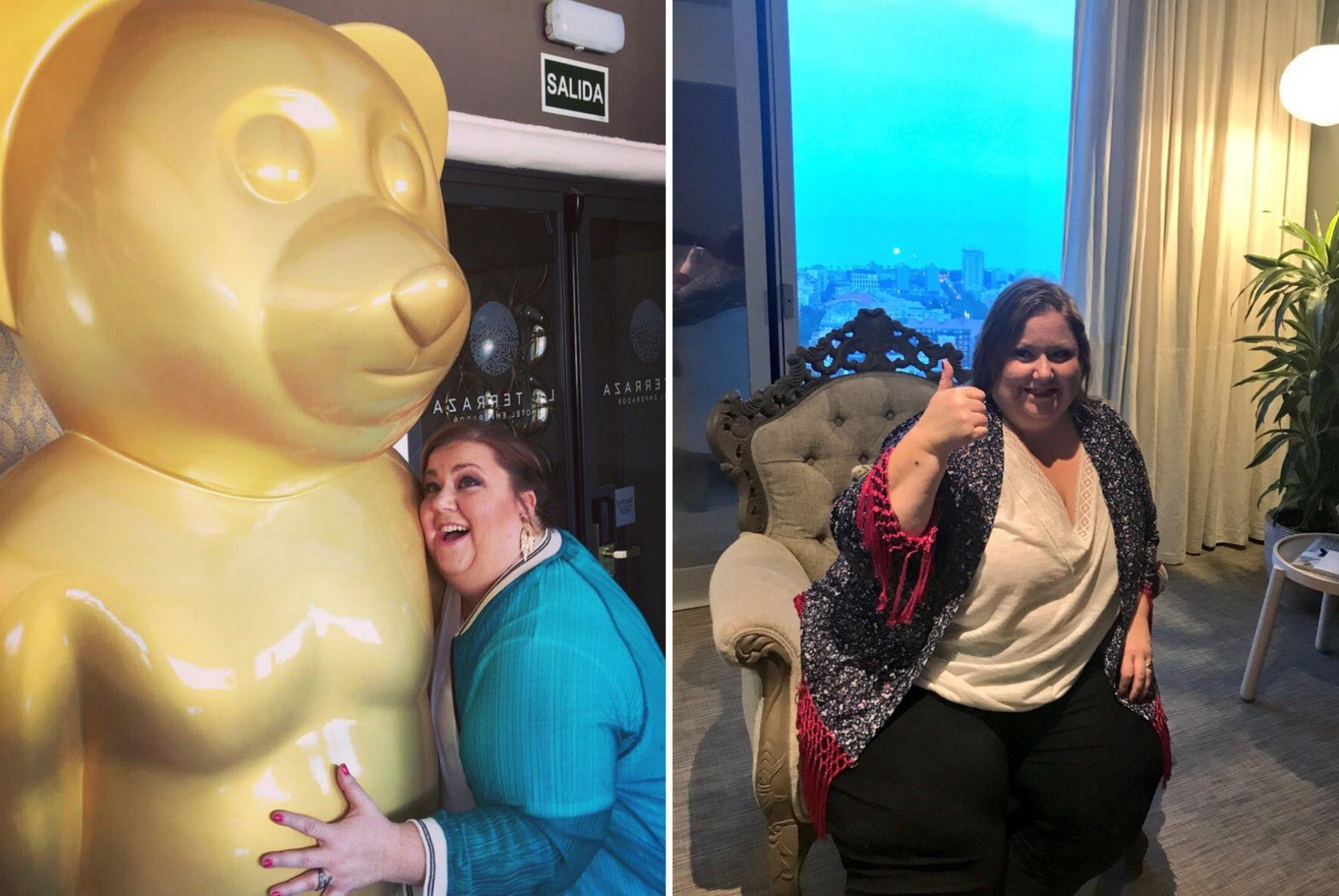 La ganadora de un Goya de hotel en hotel: En 'El Emperador', en Gran Vía, y en 'Meliá Barcelona Sky', en Poble Nou. Fotos: Facebook.