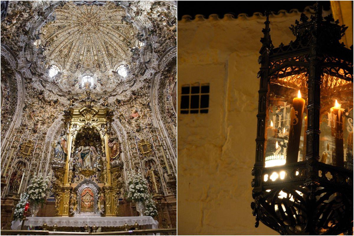 Sagrario de la Parroquia de San Mateo y lumbre nazarena. Fotos: Thzimage y Carmen Franco / Turismo de Lucena.
