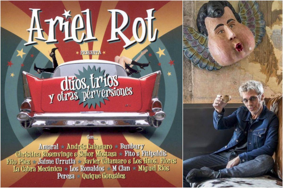 """El disco de las colaboraciones y Ariel Rot """"saludando al carnaval"""". Fotos: Facebook."""