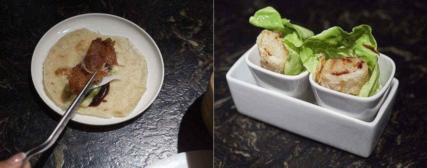 Dos de los platos estrella: el pato Pekín y los rollos 'nem' vietnamita.