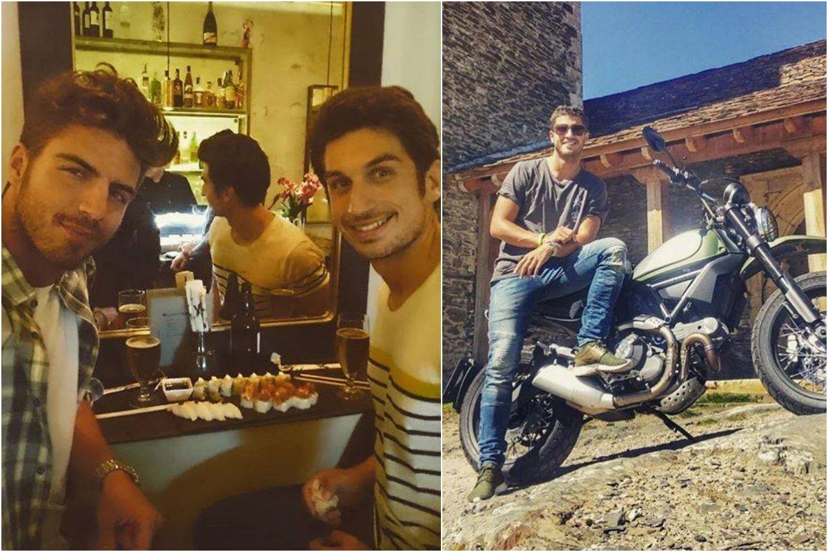 Maxi Iglesias con su hermano y en moto