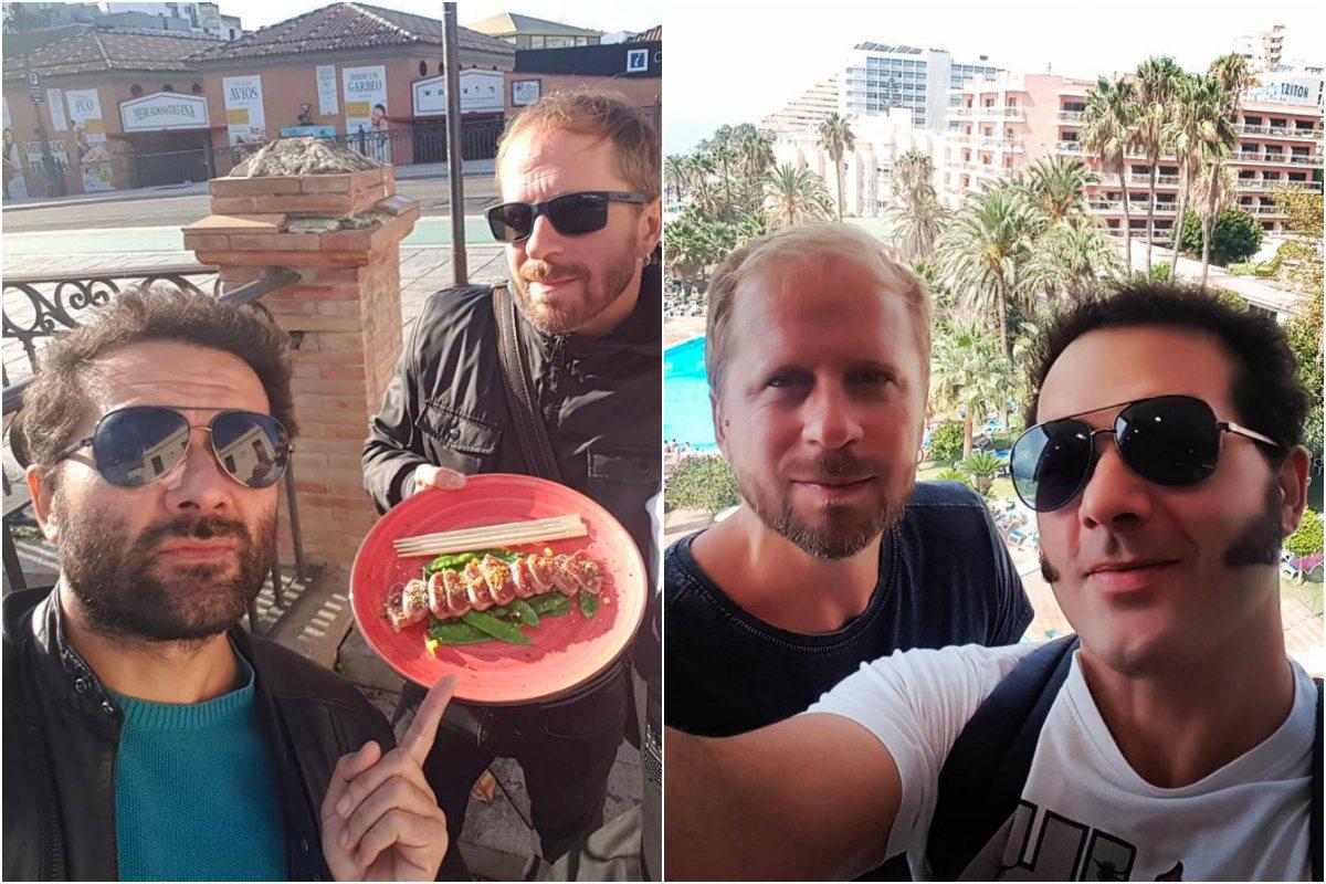A la izquierda, de tapeo con amigos. A la derecha, el actor disfrutando con Alberto de Benalmádena. Foto: Instagram