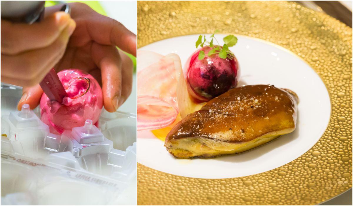 El foie fresco acompañado con una bolita de azúcar rellena de remolacha.