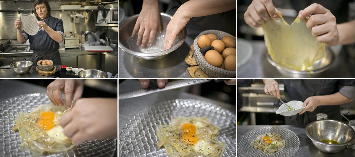 Rebeca preparando el ravioli con huevo trufado.