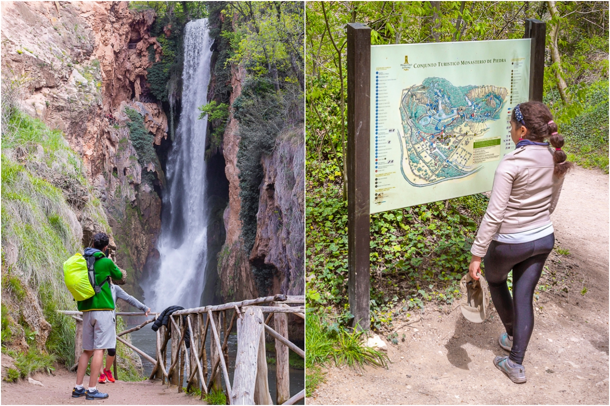 Así se ve la Cascada Cola de Caballo desde abajo. A la derecha, uno de los carteles que muestra el itinerario del parque.