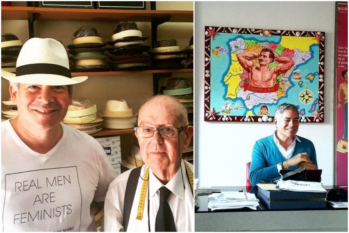 Boris Izaguirre en una tienda de sombreros de Málaga y en su despacho. Fotos: Instagram.